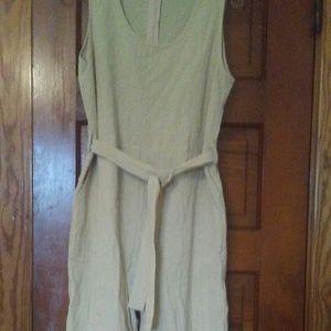 Light Tan Linen Jumpsuit